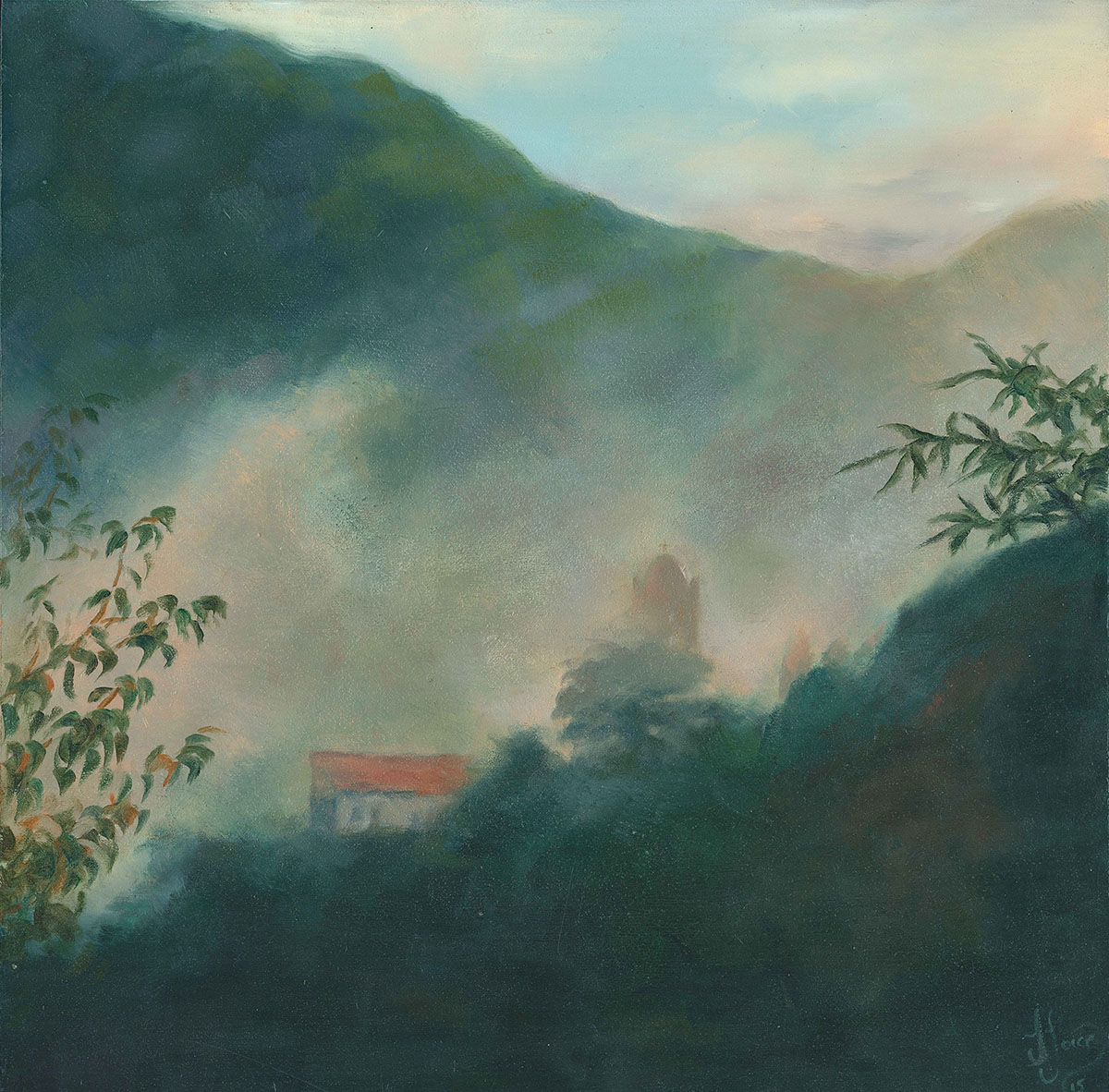 Evening Mist after the Storm, Stazzema - Oil on wood - 30 x 30 cm