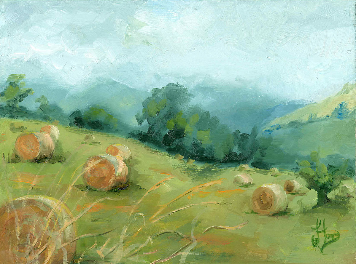 Hay Harvest in the Beacons - Oil on wood - 40 x 33 cm