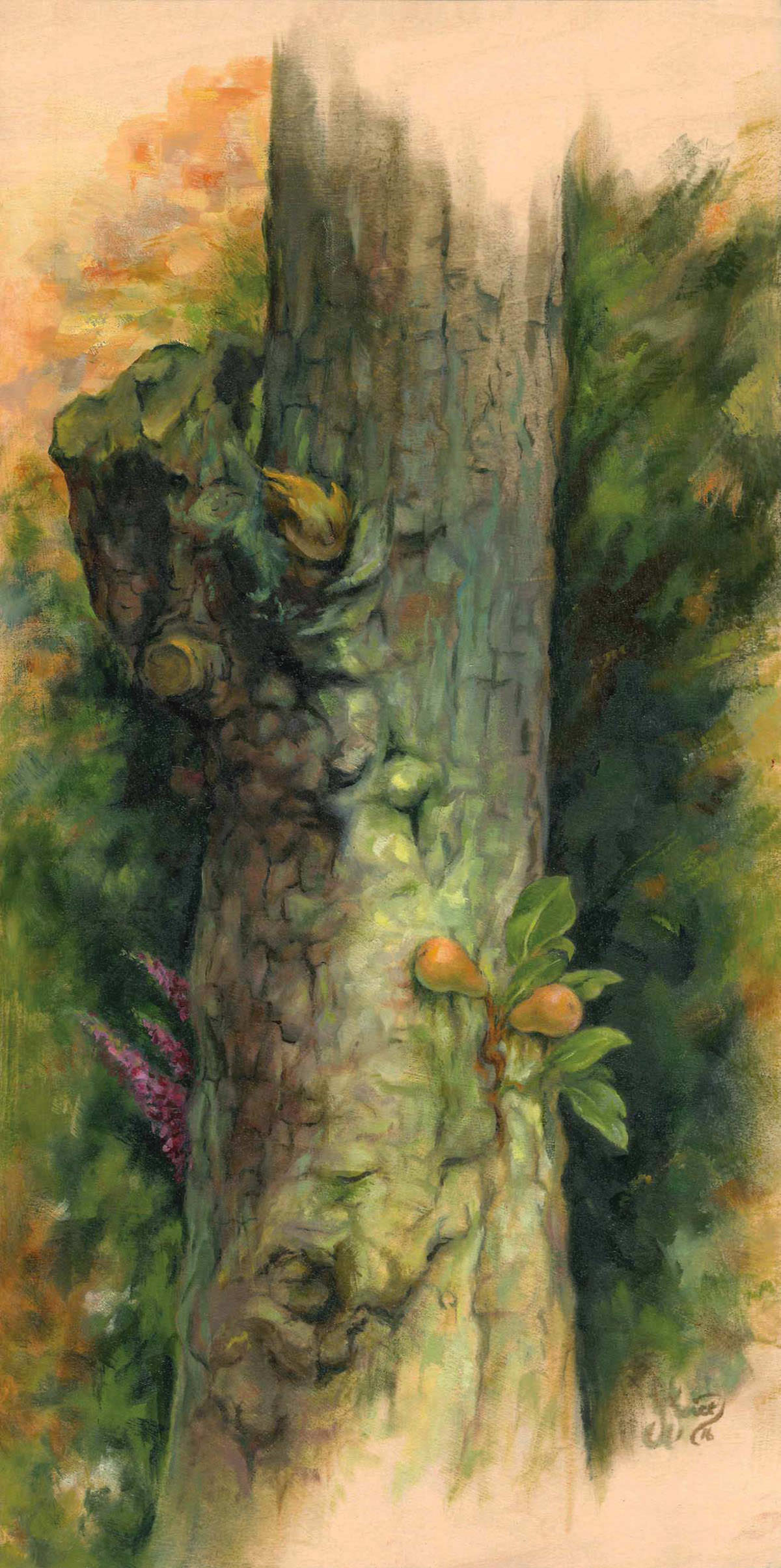 Ageing Pear Tree - Oil on wood - 40 x 20 cm