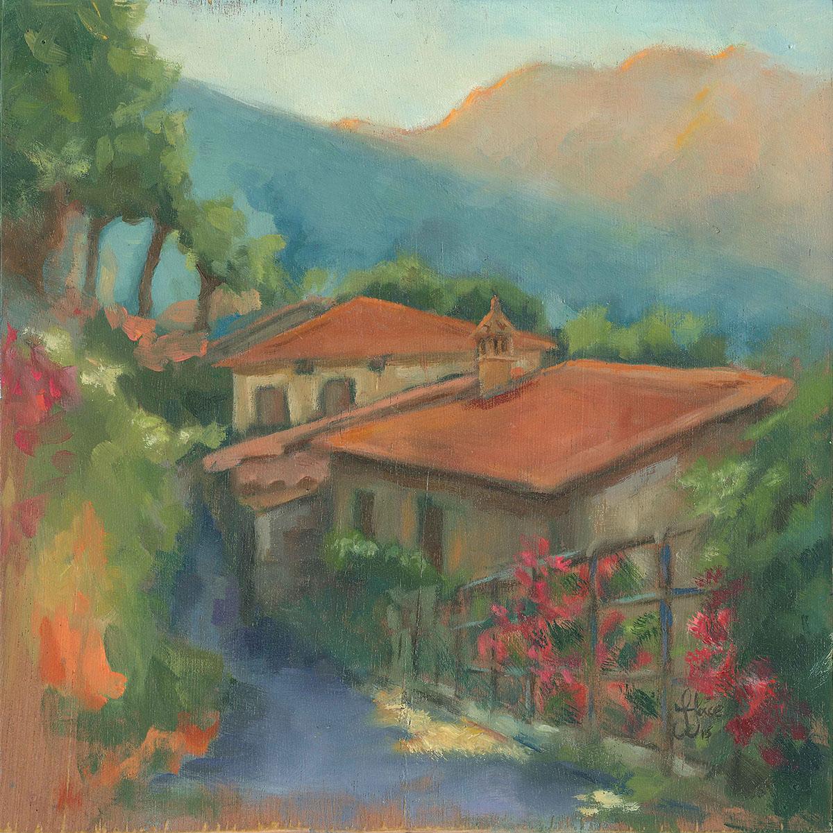 Sunrise in Stazzema - Oil on wood - 20 x 20 cm
